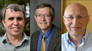 Os vencedores do Nobel de Química 2014: os americanos Eric Betzig, William Moerner e o romeno naturalizado alemão Stefan Hell - AFP